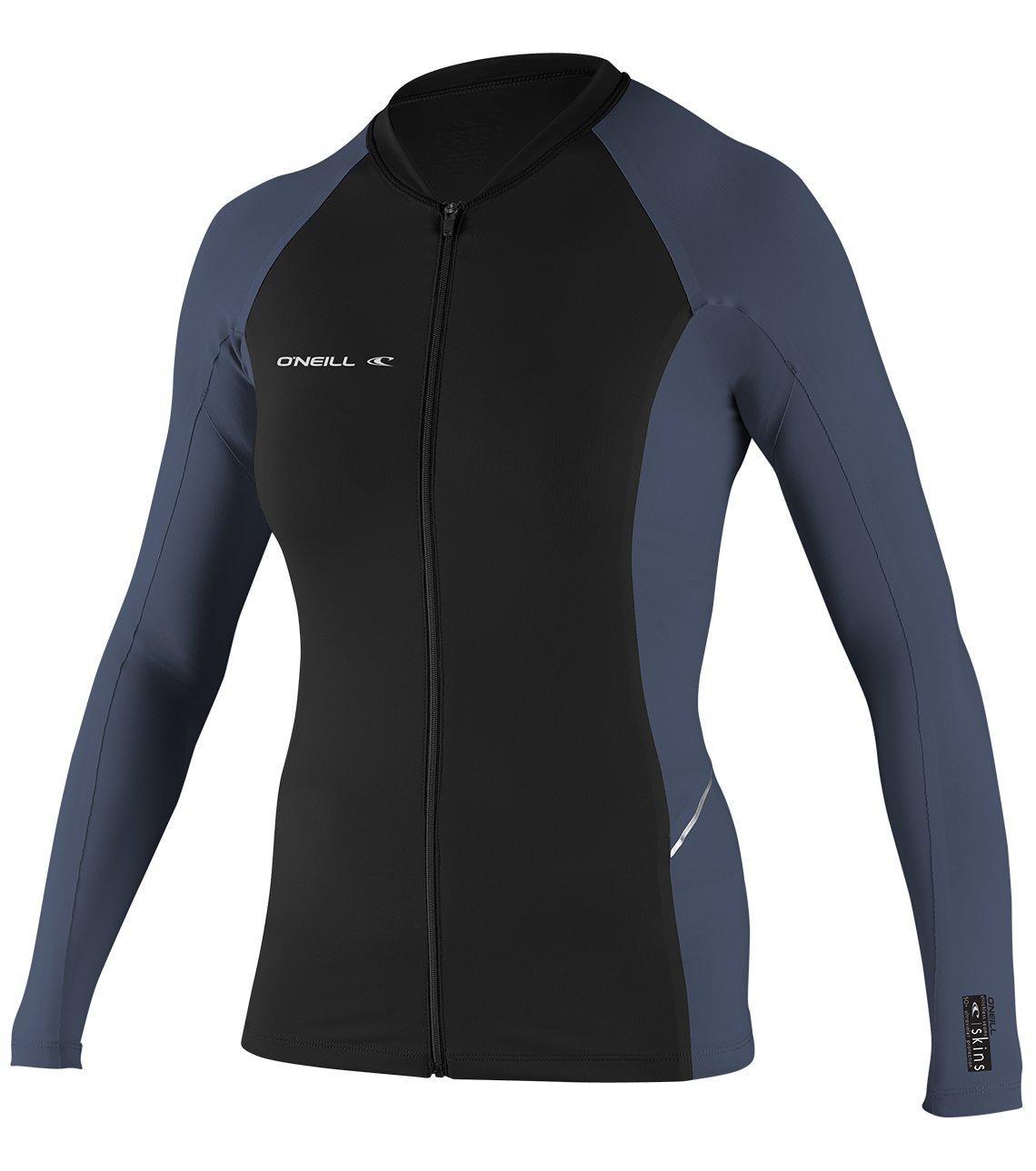O'Neill Women's Premium Skins Stitchless UPF 50+ Long Sleeve Full Zip Jacket, Black/Mist, Small
