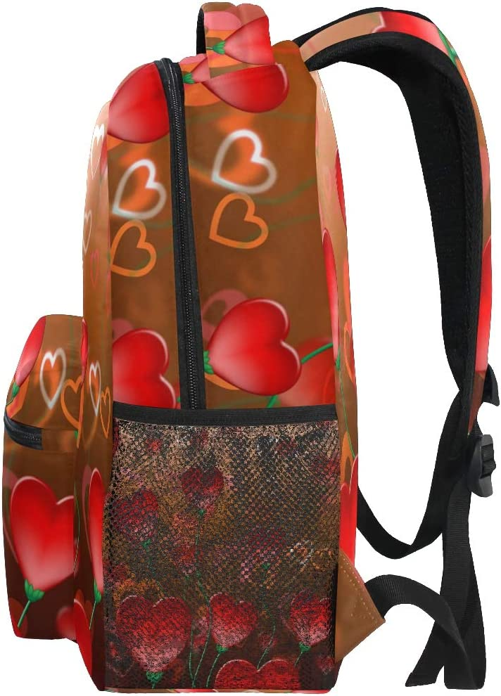 Valentines Red Hearts Love And Abstract Backpacks Travel Laptop Daypack School Bags for Teens Men Women