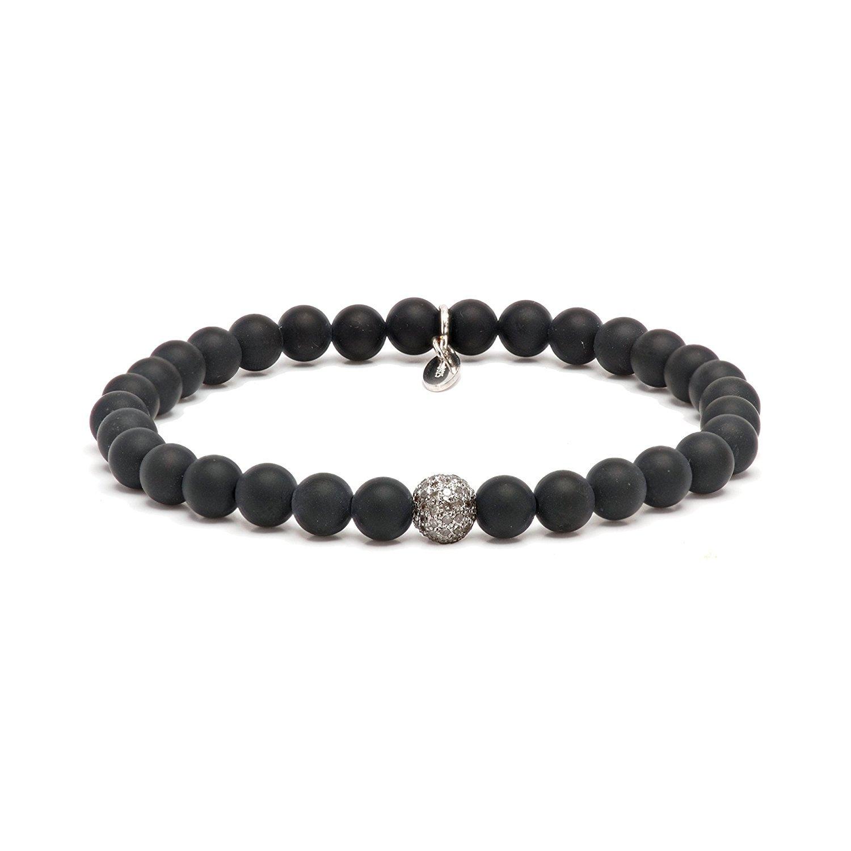 Mens Matt Onyx Diamond Sterling Silver Bead Stretch Bracelet (White)