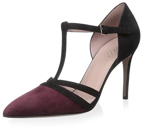 a28678ab9cfa8 Amazon.com: Gucci Women's T-Strap Sandal, Black/Burgandy, 38.5 M EU ...