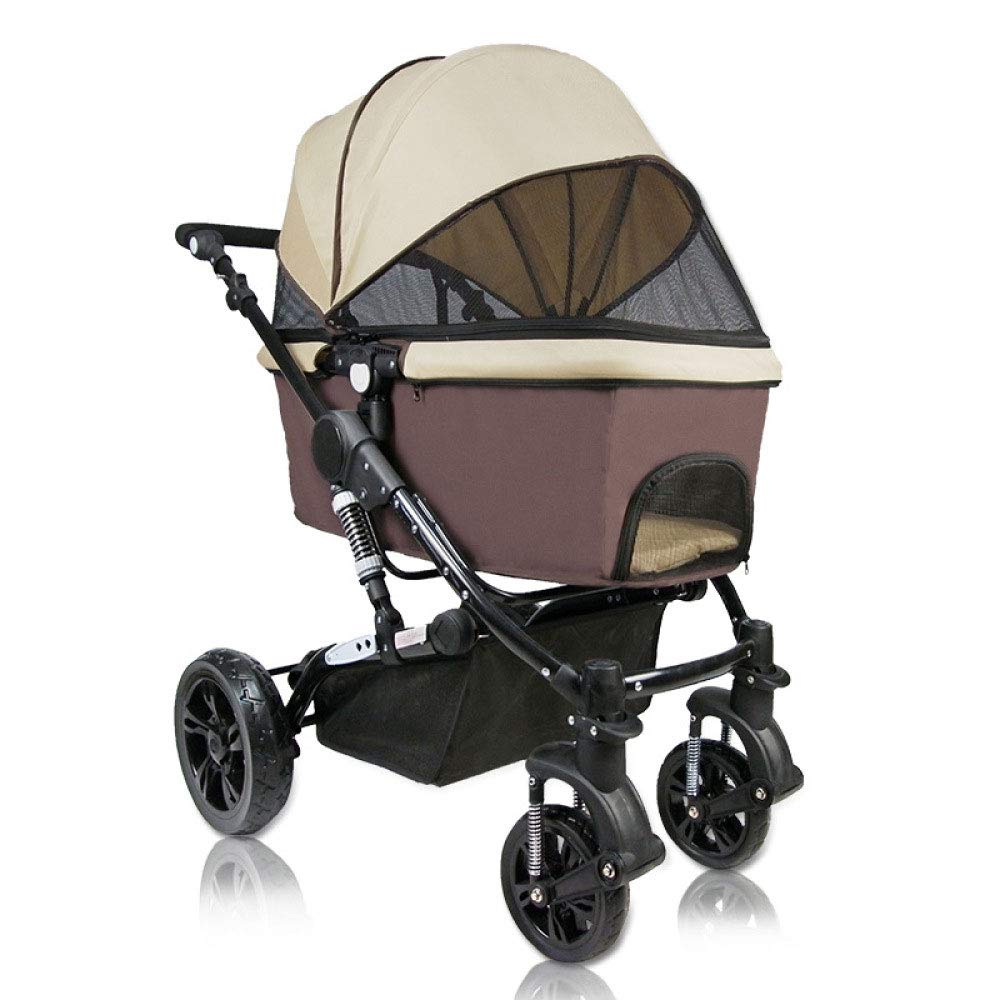 Brown Large Folding Pet Trolley Dog and Cat Cage Four-Wheeled Outing Package (color   Brown)