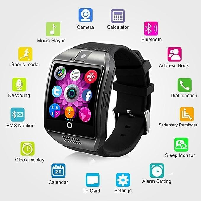 Bluetooth Reloj Inteligente Impermeable, AxCella SmartWatch Soporte SIM/TF Tarjeta Iinteligente con el podómetro Monitor de dormir Facebook Whatsapp ...
