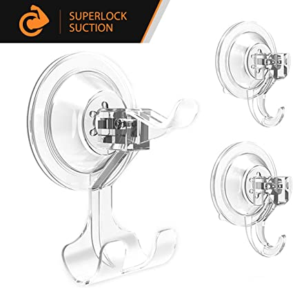 3 Pack Elegear Ganchos Super Fuerte pl/ástico succi/ón Ultra Resistente Gancho Ventosa para el hogar Perchas 3 Pack Suction Hooks/