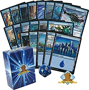 60 Magic The Gathering - All Blue Cards Beginner Starter Deck! 1 Spindown! Lands! Includes Golden Groundhog Deck Box!