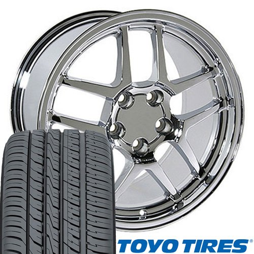 OE Wheels 17 Inch Fit Corvette Camaro C5 Z06 Style Chrome 17x9.5 Rims Toyo Tires SET