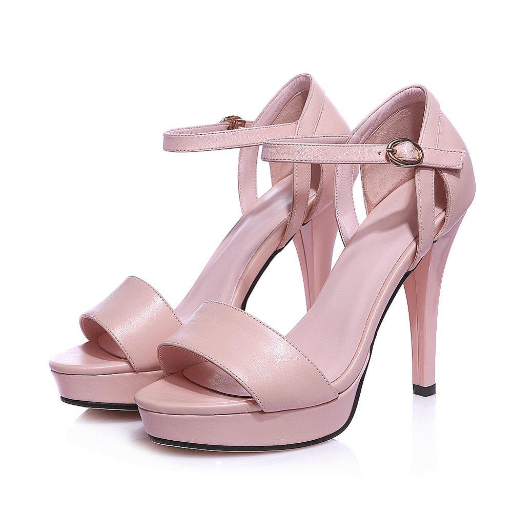 US Pink Lucksender Womens Platform Open Toe Ankle Strap High Heels Fashion Sandals 6.5B M