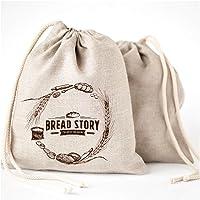 Natur Leinen Brot Taschen - 2er Pack 30x40cm ideal für selbstgebackenes Brot, ungebleicht, wiederverwendbar zur Aufbewahrung von Lebensmitteln, Einzugs, Speicher für Handwerker Brot -Bakery & Baguette