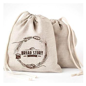Bread Story Bolsas de Pan de Lino - 2 Unidades 11 x 15 Speical Art Diseño Natural sin blanquear Lino Reutilizable Alimentos Seguro Almacenamiento para ...