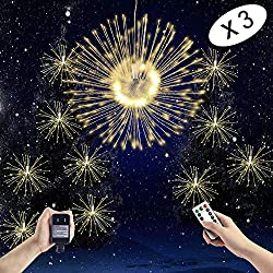 Boomlight Starburst Light, Outdoor String Light,Fairy Twinkle Lights, Hanging Light,Waterproof with Remote Control Power Source with Copper Wire for Bedroom,Wedding, Garden,Outdoor (Warm White)