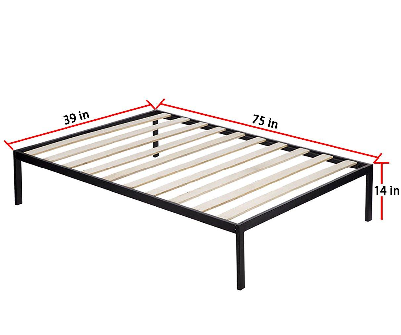 Bed Frame Metal Platform Bed Frame 14 Inch Heavy Duty Wood Slat Steel Frame Twin Size by BestMassage (Image #2)