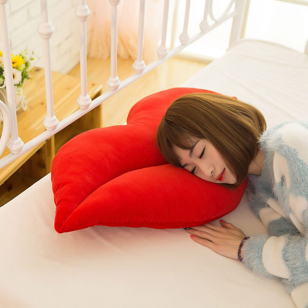 yinpinxinmaoソフトPlush Pillowクッションセクシーな大きなリップスローソファベッド装飾 One size レッド 29876 B0787XL7VR レッド