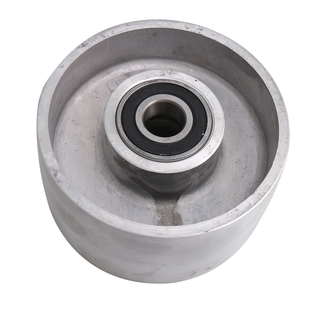 125mm Diameter Silver Aluminum Belt Grinder Tracking Wheel Passive with Bearing