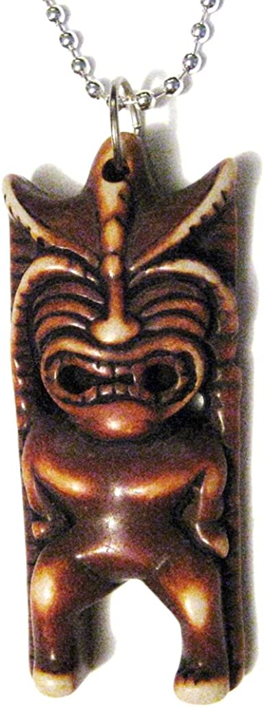 Hawaiian Tiki Mask Totem Pendant Carved Ox Bone Stainless Steel Necklace Amazon Com