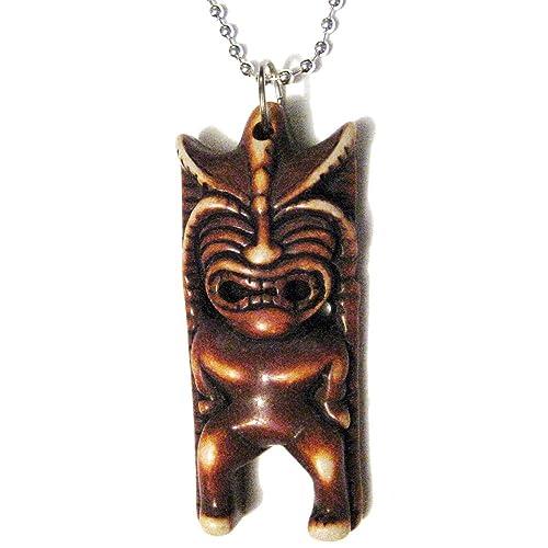 Hawaiian Tiki máscara el tótem de felicidad colgante tallada collar chapado en plata
