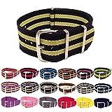 Wrist & Style NylonNATO Watch Strap (20mm, Black/Yellow/Black/Yellow/Black)