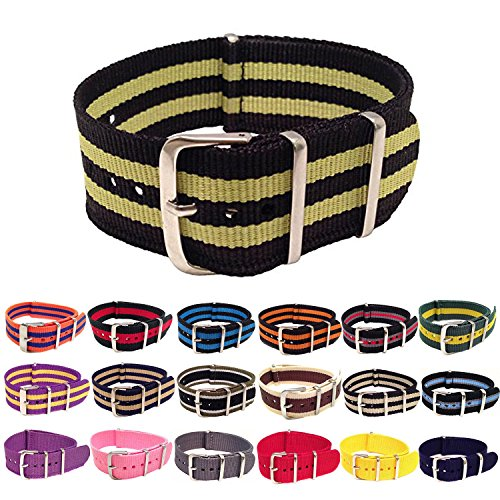 Wrist & Style NylonNATO Watch Strap (20mm, Black/Yellow/Black/Yellow/Black) by Wrist & Style