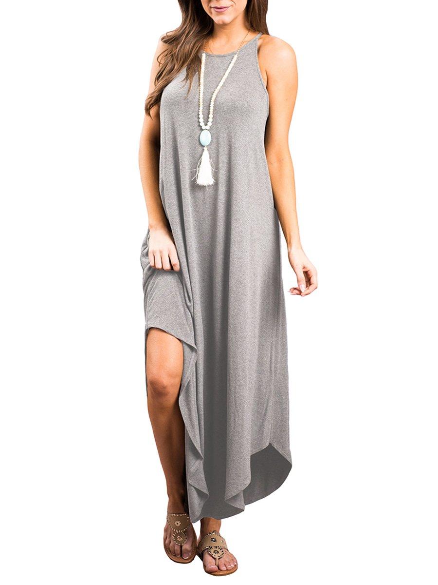 WEANIA Women's Irregular Hem Swing Maxi Dress Round Neck Sleeveless Casual Summer Long Dress (Gray, Medium)