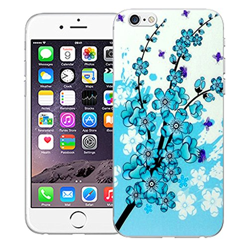 "Mobile Case Mate iPhone 6 4.7"" Silicone Coque couverture case cover Pare-chocs + STYLET - Blue Floral Bee pattern (SILICON)"