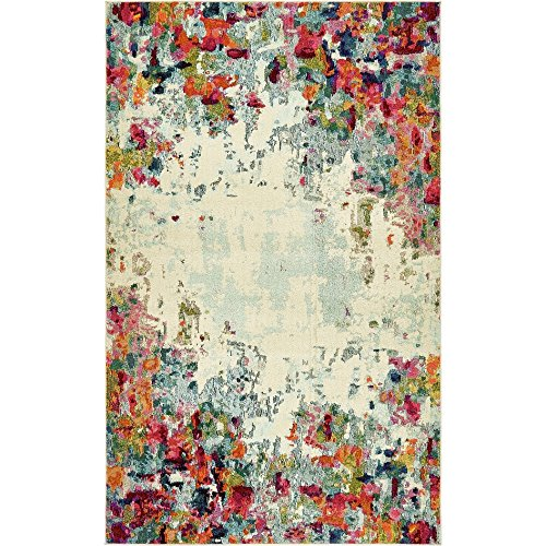 - Abstract Spectrum Splash Motif Area Rug, Colorful Watercolor Canvas Design, Rectangle Indoor Living Room Doorway Hallway Bedroom Dining Area Carpet, Unique Border Line Theme, Multicolor, Size 8' x 10'