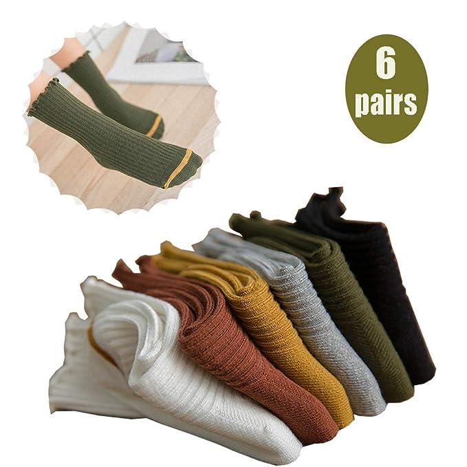 DOTBUY Lindo Color Sólido Calcetines de Bebé Niños, 6 pares Algodón Niñas Calcetines Cómodo Suave Absorben el Sudor Navidades Socks para 1-8 Años: ...