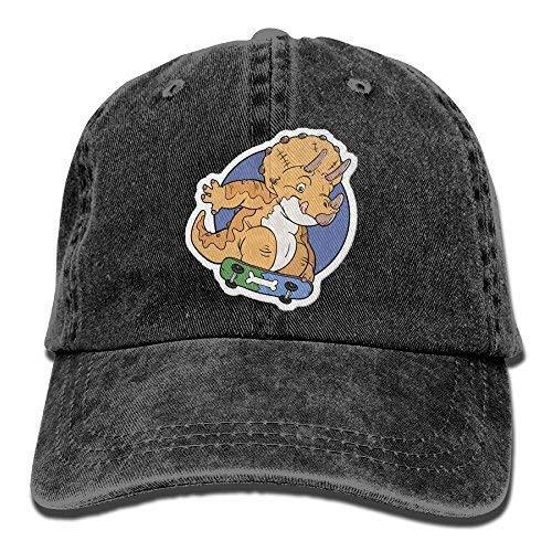 Triceratops Do Skate Unisex Denim Baseball Cap Adjustable Strap Low Profile Plain Hats Outdoor Casquette Snapback Hats Black Black ()