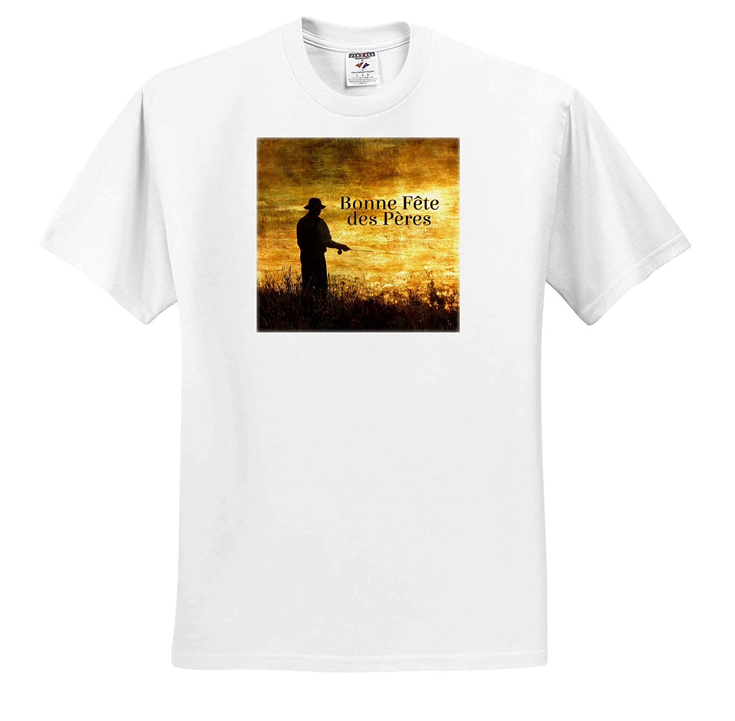 French Language Fathers Day Fishermen at Sunrise 3dRose Doreen Erhardt Cultural ts/_319554 Adult T-Shirt XL