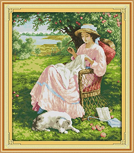 Benway Counted Cross Stitch Kit Sewing Woman Under The Apple