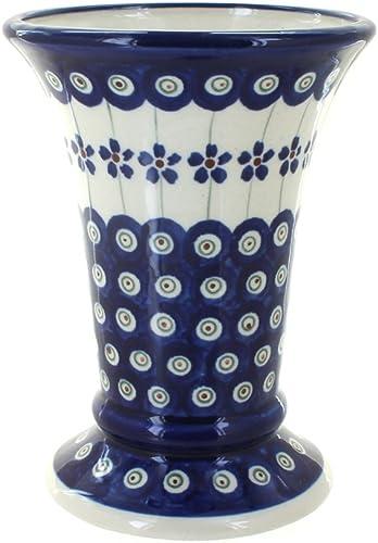 Blue Rose Polish Pottery Flowering Peacock Small Vase