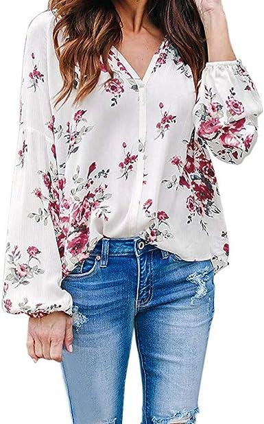 Heetey Tshirts - Camisa para Mujer con Estampado de Flores y ...