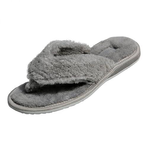 Piel de cordero - TIRA DIVISORA DEDOS DEL PIE Mujer Zapatillas de casa Chanclas de dedo Piel auténtica gris - gris, 40 UE: Amazon.es: Zapatos y complementos
