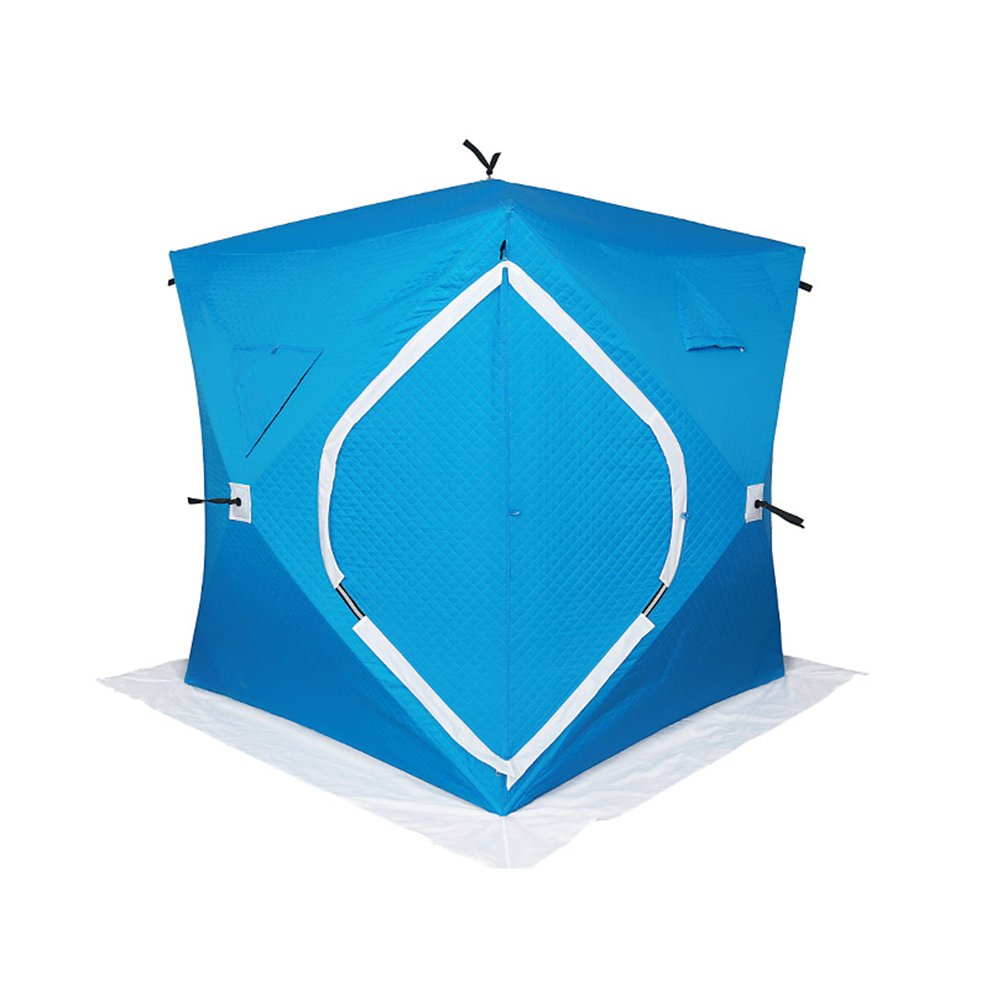 Portable Anti-UV Water Repellent Add Cotton Thickening Ice Fishing Shelter With Pop up Hub Sides Ventilation Removable Window Carry Backpack Ice Anchors Ropes, Up To 3 Person (Blue)