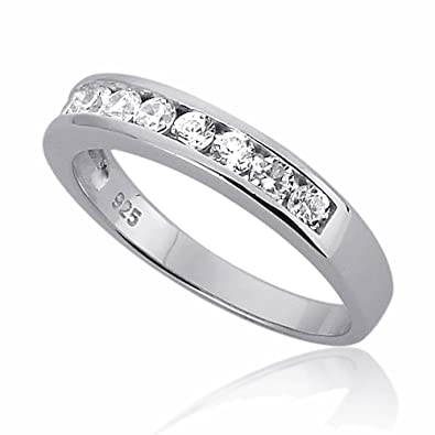 Sterling Silver Channel Set Round CZ Stackable Wedding Band Engagement Ring Size 3