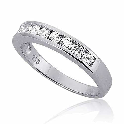Prime Pristine Sterling Silver Channel Set Round Cz Stackable