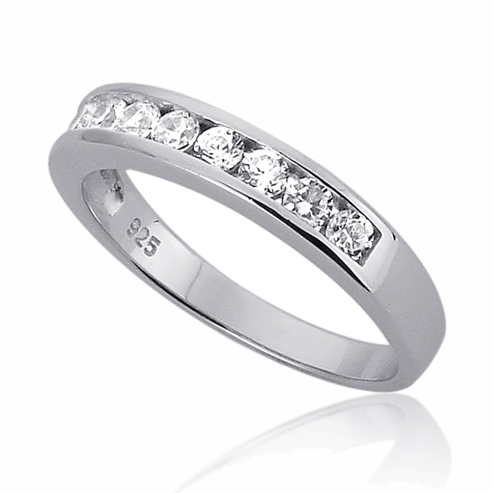 Sterling Silver Channel Set Round CZ Stackable Wedding Band Engagement Ring -Size: 7
