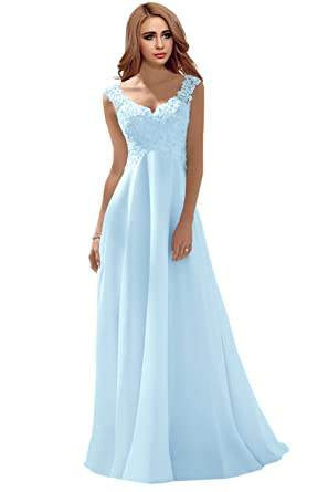 Milano Bride Elegant V Ausschnitt Spitze Chiffon Hochzeitskleider