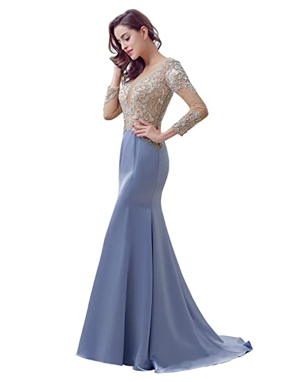 Sarahbridal Womens Illusion Neck Mermaid Evening Prom Dresses With Beads Satin Elegant Party Ball Gowns Dress