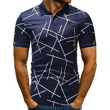 Bestow Camisa Casual de Manga Corta con Remiendo de Manga Corta Camiseta Estampada de Manga Corta para Hombre: Amazon.es: Ropa y accesorios