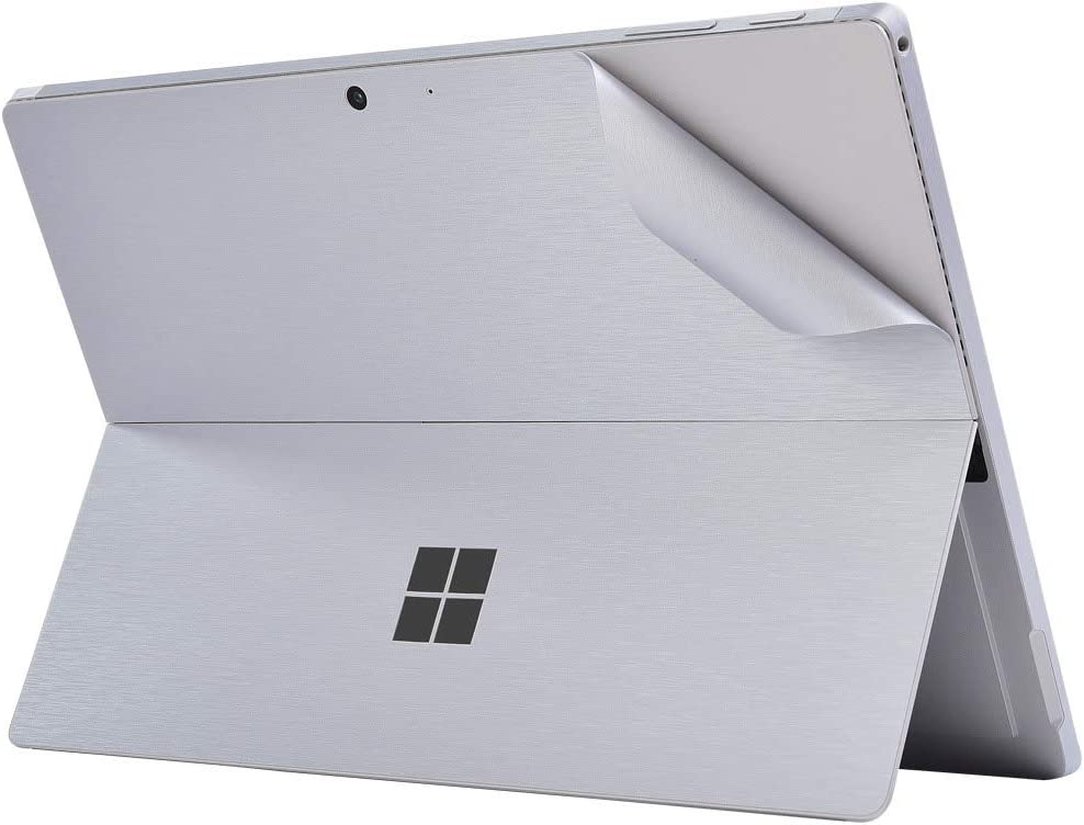 XISICIAO Skin Sticker for Surface Pro 7(Microsoft 2019 Released), 12.3 Inch Back Decal, Ultra-Thin Vinyl Decorative Laptop Cover Protector Accessories(Metallic Brushed Silver).
