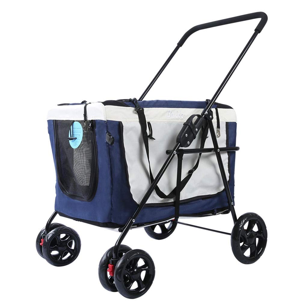 Strollers Dog Pram Folding Pet Dog Cat Pet Outdoor Car Trolley Portable Dog Cat Wagon Can Bear 20 Kg (Color : Blue, Size : 715695cm)