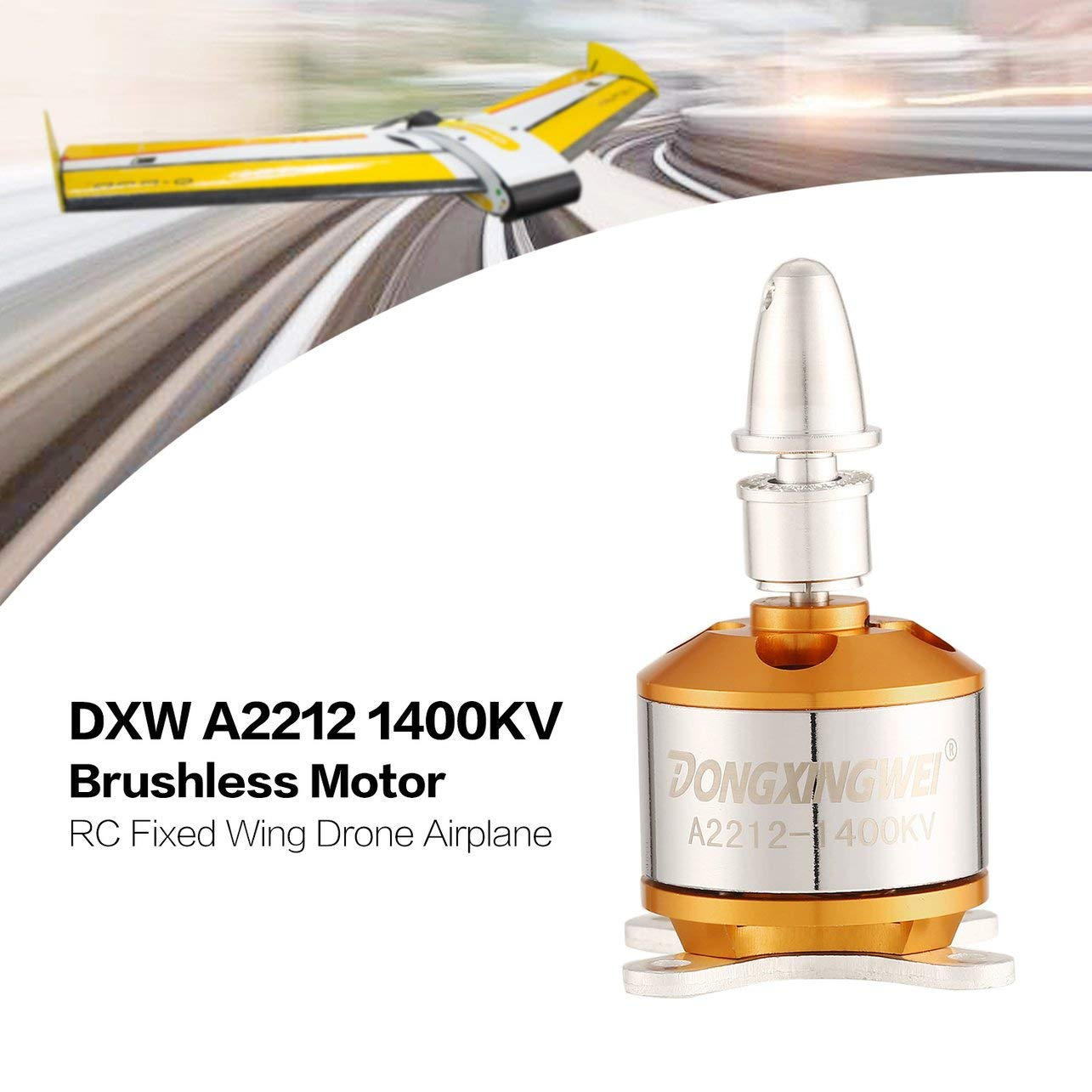 DXW A2212 1400KV 2-4S Outrunner Brushless Motor RC Fixed Wing Airplane, Gold WOSOSYEYO