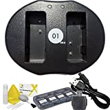 DOT-01 Brand Panasonic Lumix DC-GX9 Dual Slot USB Charger for Panasonic Lumix DC-GX9 Mirrorless and Panasonic GX9 USB Charger Bundle for Panasonic BLG10 DMW-BLG10