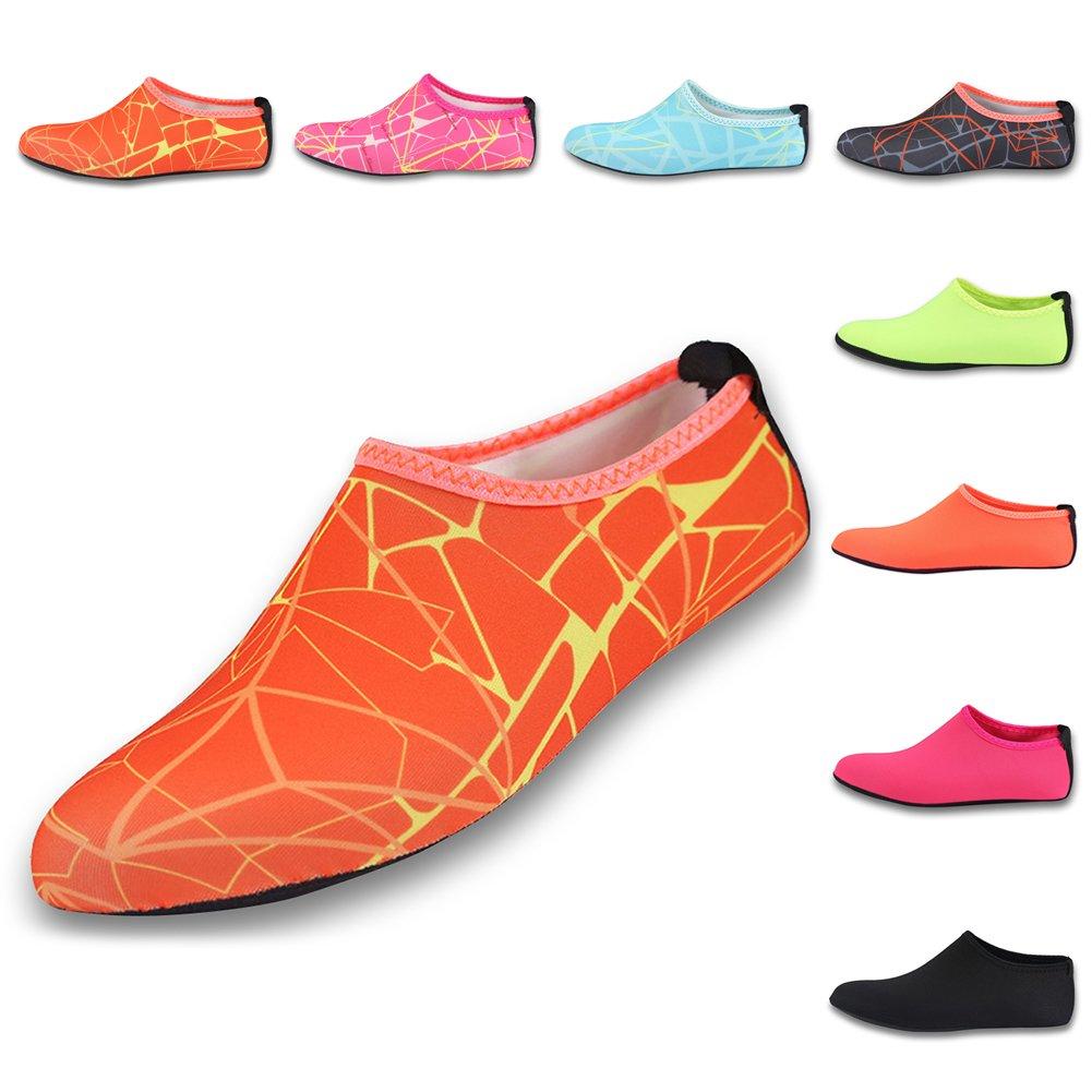 [Gohom] レディースロングファーCurlyスリッポンスリッパインドアシューズ B072K5BX1G 1 Pair Printed Orange XXL: Fit US Women's Shoe Size 9-10 XXL: Fit US Women's Shoe Size 9-10 1 Pair Printed Orange