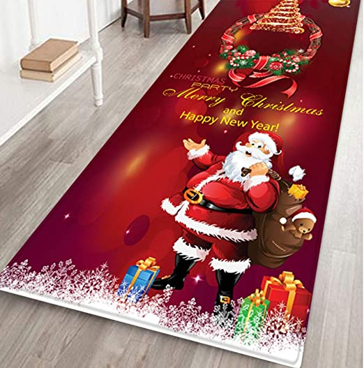 Anti-Slip Floor Mat Carpet Christmas Holiday Home Decor Theme Rectangle Area Rug