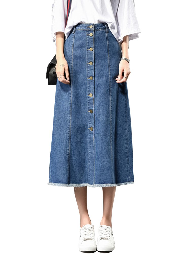 Women's Juniors High Waist Button Front Denim Flare A-Line Midi Jean Skirts Blue Tag 36-US 14
