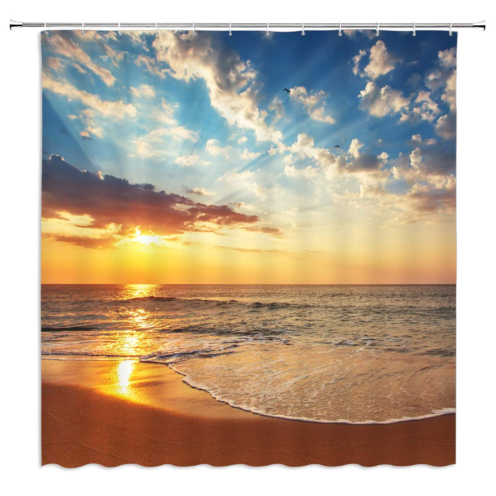 Summer Beach Shower Curtain Bathroom Decor,Hawaii Ocean Tropical Seaside Vacation Suitcase and Hat Plant,Waterproof Polyester Fabric Home Bath Accessories Curtains Set With Hooks 69 x 70 Inch Green