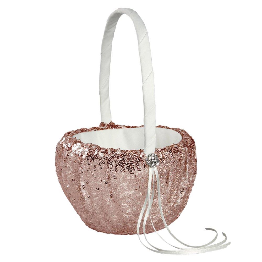 Ivy Lane Design Elsa Shiny Sequin Flower Girl Basket, Blush