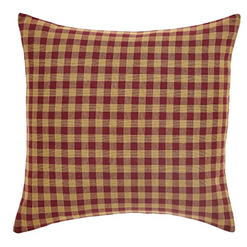 "VHC Brands Classic Country Primitive Pillows & Throws - Check Red Fabric 16"" x 16"" Pillow, Burgundy"