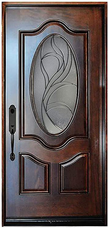 36 X80 Exterior Entry Front Door Single Door Left Hand In Swing Prehung Stained Walnut Door Solid Wood Oval Glass Amazon Com