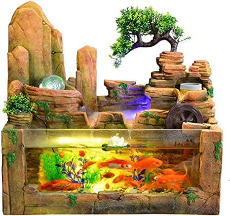 XuYuanjiaSho Indoor Fountain Desktop Fountain and Fish Tank Indoor Decoration Rockery Fish Pond Water Fountain Atomization Humidification Natural Landscape Art Home Decoration Home Office Decoration