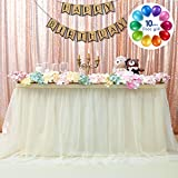 B-COOL High End Fluffy Tutu Table Skirt Romantic Ivory Craft Tulle Table Cloth Skirt For Wedding Banquet Festival Birthday Party Home Decor 3 Yards